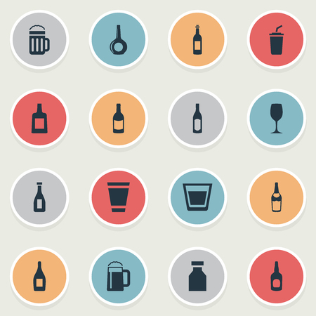 Vector Illustration Set Of Simple Water Icons. Elements Alcohol, Martini, Pub And Other Synonyms Beer, Bottle And Party. Illustration