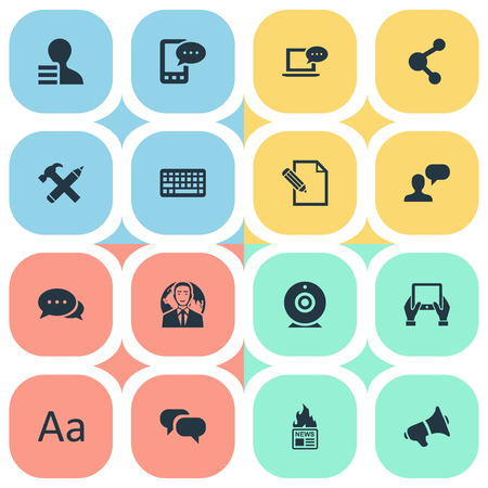 Vector Illustration Set Of Simple Newspaper Icons. Elements Man Considering, Broadcast, Argument And Other Synonyms Negotiation, Speech And Pencil.