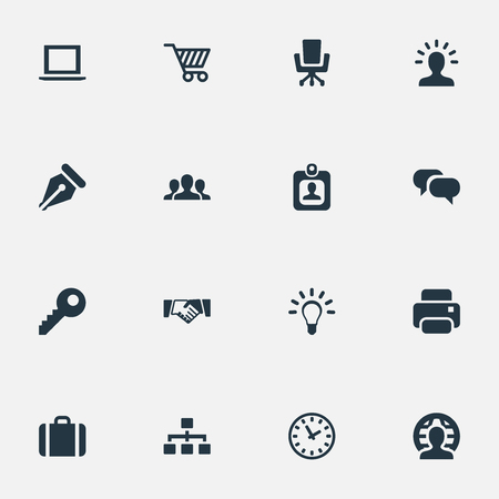 벡터 일러스트 레이 션 간단한 상거래 아이콘 집합입니다. 요소 무역 지갑, 관계, 인쇄 기계 및 다른 동의어 좌석, 암호 및 사용자. 일러스트