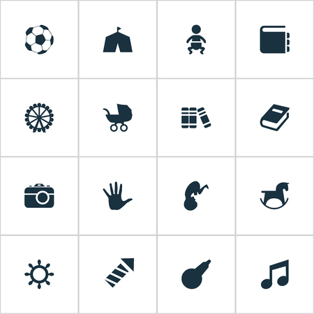 Vector Illustration Set Of Simple Infant Icons. Elements Melody, Soccer, Textbook And Other Synonyms Dictionary, Enema And Stroller.