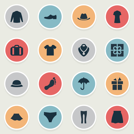 Vector Illustration Set Of Simple Dress Icons. Elements Elegance, Head Accessory, Underclothes And Other Synonyms Top, Rich And Stand. Ilustração