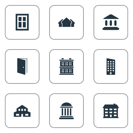 domicile: Vector Illustration Set Of Simple Architecture Icons. Elements Academy, Glazing, Residential And Other Synonyms Museum, Gate And Open. Illustration