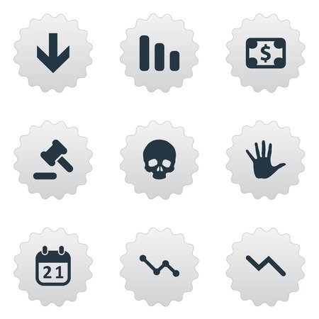 Vector Illustration Set Of Simple Impasse Icons. Elements Tribunal, Graph Decreases, Info Graph And Other Synonyms Skull, Money And Bone. Ilustrace