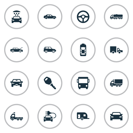 Vector Illustration Set Of Simple Car Icons. Elements Carriage, Key, Repair And Other Synonyms Shower, Tuning And Repair.