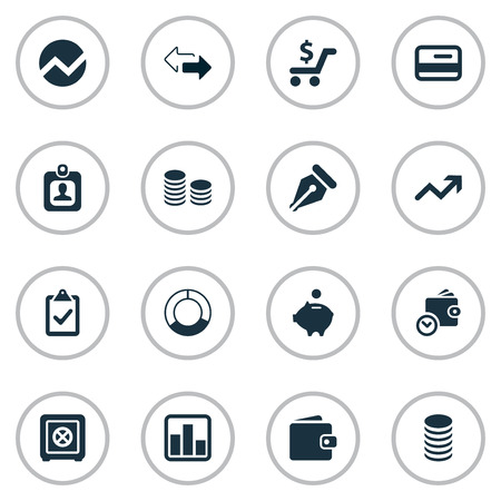 Vector Illustration Set Of Simple Financial Icons. Elements Nib, Strongbox, Line Chart And Other Synonyms Credit, Interest And Wallet. Stock Vector - 74406223