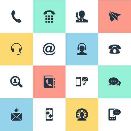 telephone icons: Vector Illustration Set Of Simple Contact Icons. Elements Telephone Switchboard. Illustration