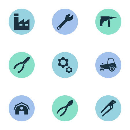 Vector Illustration Set Of Simple Axe Icons. Elements Cutters, Spanner, Construction And Other Synonyms Nippers, Industry And Electric. Illustration