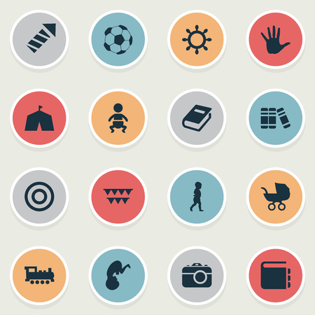 Vector Illustration Set Of Simple Infant Icons. Elements Kid, Bookshop, Fetus And Other Synonyms Camera, Embryo And Bursts. Illustration
