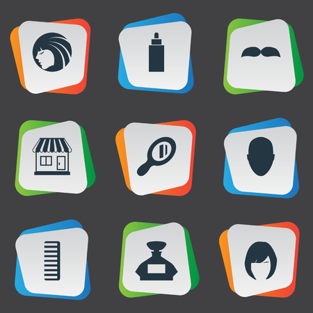 Vector Illustration Set Of Simple Barber Icons. Elements Container, Human, Glamour Lady And Other Synonyms Male, Supermarket And Reflector. Ilustrace