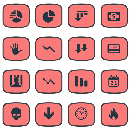 jailer: Vector Illustration Set Of Simple Crisis Icons. Elements Round Graph, Palm, Bankroll And Other Synonyms Calendar, Card And Diagram. Illustration