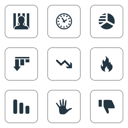 jailer: Vector Illustration Set Of Simple Trouble Icons. Elements Downward, Finger Below, Penitentiary And Other Synonyms Clock, Blaze And Hand. Illustration