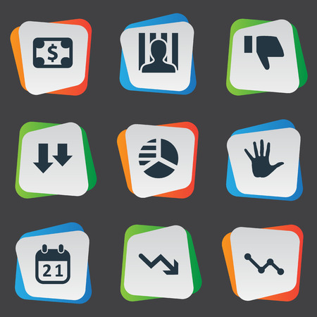 jailer: Vector Illustration Set Of Simple Impasse Icons. Elements Penitentiary, Downward, Agenda And Other Synonyms Palm, Calendar And Arrows. Illustration
