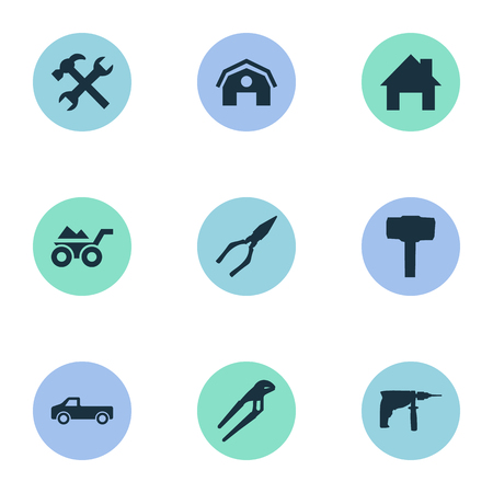 Vector Illustration Set Of Simple Wrench Icons. Elements Electric Screwdriver, Adjustable Wrench, Hangar And Other Synonyms Transportation, Screwdriver And Pliers.