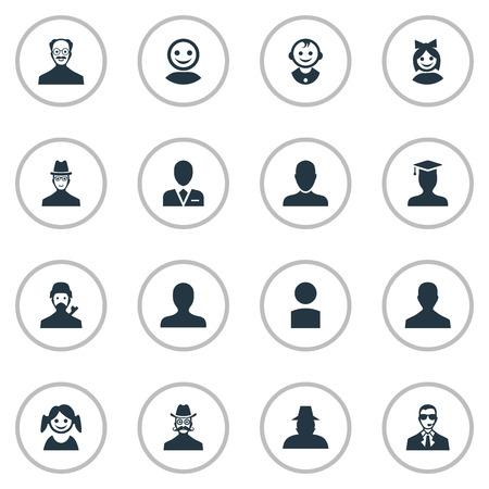Ilustración Vectorial Conjunto De Iconos Humanos Simples. Elementos Retrato, cara de niña, agente y otros sinónimos Trabajador, poco y graduado.