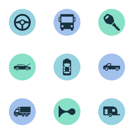 Vector Illustration Set Of Simple Automobile Icons. Elements Klaxon, Tour Bus, Caravan And Other Synonyms Truck, Repair And Siren. Illustration