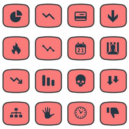 doomed: Vector Illustration Set Of Simple Situation Icons. Elements Graph Decreases, Finger Below, Descending And Other Synonyms Work, Reminder And Chart. Illustration