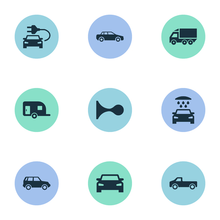 Vector Illustration Set Of Simple Car Icons. Elements Vehicle, Transport Cleaning, Automobile And Other Synonyms Electric, Haulage And Vehicle.