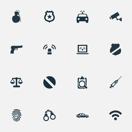 Vector Illustration Set Of Simple Police Icons. Elements File, Justice, Pistol And Other Synonyms Internet, Searching And Prescription.