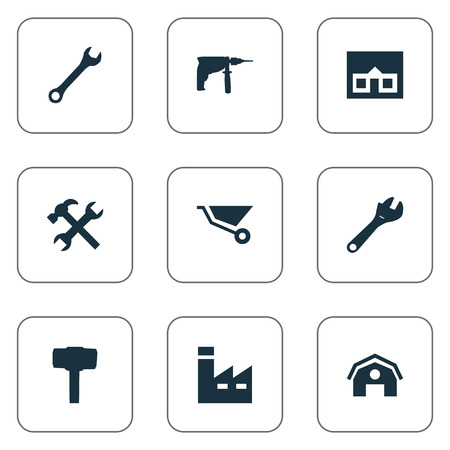 Vector Illustration Set Of Simple Axe Icons. Elements Cart, Workshop, Spanner And Other Synonyms Farmhouse, Wrench And Mechanical. Illustration