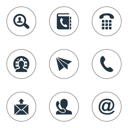 Vector Illustration Set Of Simple Connect Icons. Elements Telephone Switchboard, E-Mail Symbol, Job Research And Other Synonyms Global, Paper And Job.