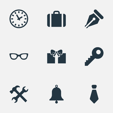 formal signature: Vector Illustration Set Of Simple Instrument Icons. Elements Ring, Eyeglasses, Ink Pencil And Other Synonyms Case, Key And Necktie. Illustration