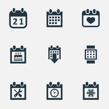 almanac: Vector Illustration Set Of Simple Calendar Icons. Elements History, Renovation Tools, Special Day And Other Synonyms Planner, Almanac And Day.