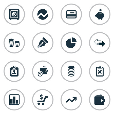 Vector Illustration Set Of Simple Banking Icons. Elements Segmentation, Rate, Strongbox And Other Synonyms Money, Pen And Growth.