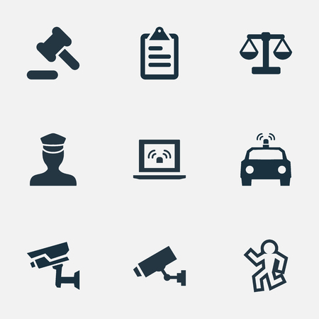 Vector Illustration Set Of Simple Police Icons. Elements Hammer, Dead Man, Justice And Other Synonyms Hammer, Safety And Camera. Illustration