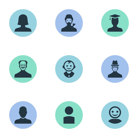 Vector Illustration Set Of Simple Member Icons. Elements Job Man, Woman User, Spy And Other Synonyms Mustaches, Student And Graduate.