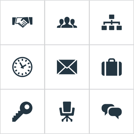 Vector Illustration Set Of Simple B2B Icons. Elements Relationship, Password, Work Seat And Other Synonyms Friendship, Team And Clock. Illustration
