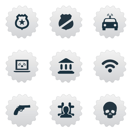 Vector Illustration Set Of Simple Offense Icons. Elements Gun, Internet, Arrested And Other Synonyms Internet, Governemental And Wireless.