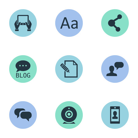 Vector Illustration Set Of Simple Blogging Icons. Elements Man Considering, Gossip, Site And Other Synonyms Network, Writing And Hand.
