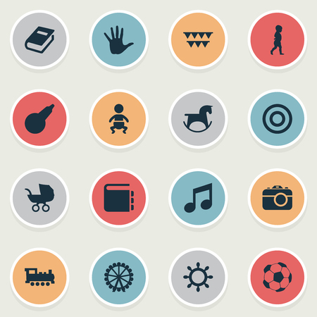 Vector Illustration Set Of Simple Baby Icons. Elements Palm, Rudder, Dictionary And Other Synonyms Direction, Ferris And Encyclopedia.