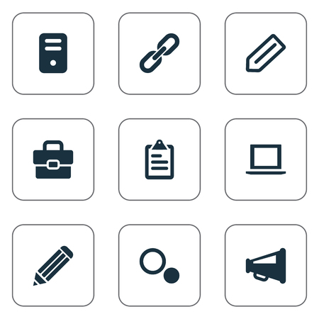 Vector illustration set of simple web icons elements system elements system unit settings bullhorn and other synonyms chain tag and link malvernweather Images