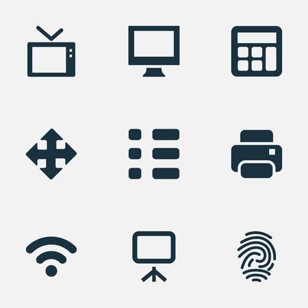 Vector Illustration Set Of Simple Gadget Icons. Elements Projector, Photocopier, Move And Other Synonyms Schedule, Connection And Wireless. Illustration