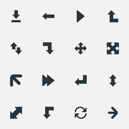Vector Illustration Set Of Simple Pointer Icons. Elements Downward, Down Up, Straight-Back And Other Synonyms Reduction, Left And Ahead. Illusztráció