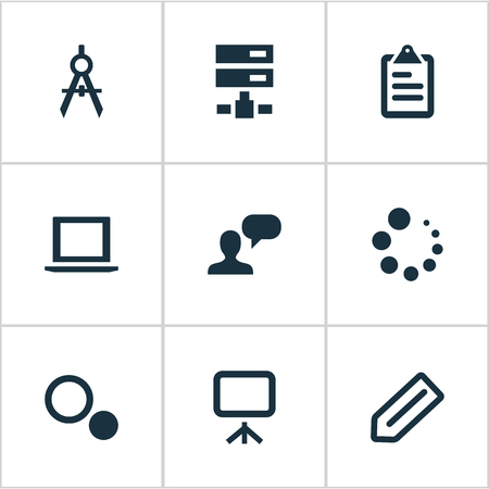Vector Illustration Set Of Simple Design Icons. Elements Laptop, Circle Compass, Schedule And Other Synonyms Options, Tools And Choice.