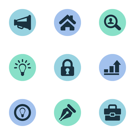 Vector Illustration Set Of Simple Business Icons. Elements Padlock, Home, Bulb And Other Synonyms Estate, Document And Loudspeaker.
