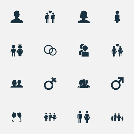 Vector Illustration Set Of Simple Couple Icons. Elements Gay, Alternative, Lineage And Other Synonyms Lineage, Alternative And Father.