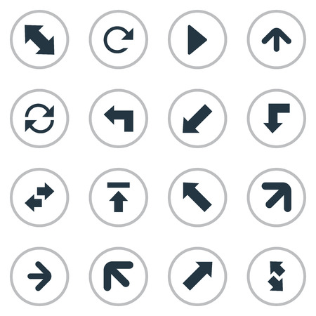 Vector Illustration Set Of Simple Arrows Icons. Elements Right Landmark, Pointer , Circular Synonyms Refresh, Right And Direction. Çizim