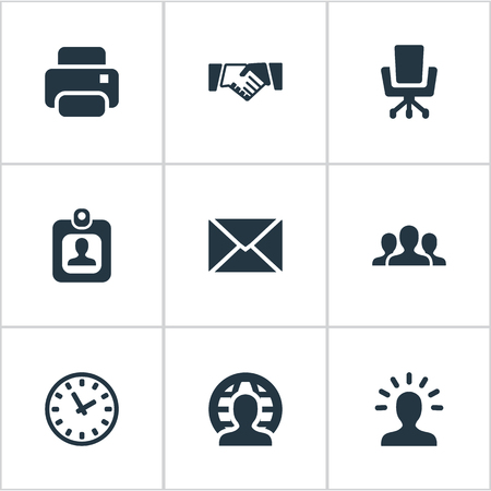 Vector Illustration Set Of Simple Commerce Icons. Elements Partnership, Work Seat, Member And Other Synonyms Group, Seat And Envelope.