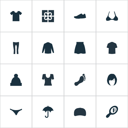 Vector Illustration Set Of Simple Garments Icons. Elements Ski Hat, Cap, Present And Other Synonyms Pompom, Underpants And Bra.