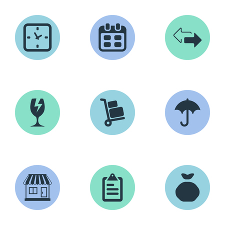 Vector Illustration Set Of Simple Surrender Icons. Elements Luggage Bearer, Gingham, Holdall And Other Synonyms Luggage, Umbrella And Time.