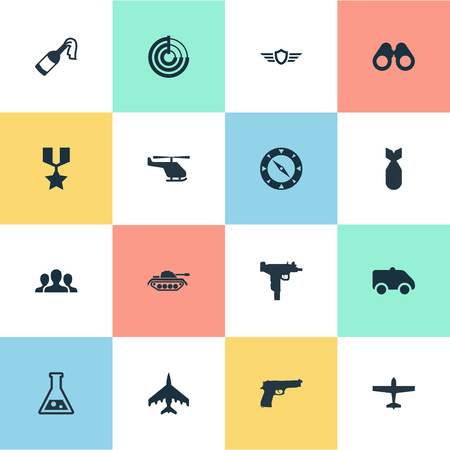 Vector Illustration Set Of Simple Army Icons. Elements Firearm, Group, Molotov And Other Synonyms Detector, Navigator And Team.