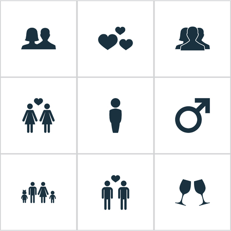 Vector Illustration Set Of Simple Beloved Icons. Elements Gay, Homosexual, Dissolve The Marriage And Other Synonyms Female, Love And Man.