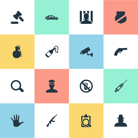 Vector Illustration Set Of Simple Crime Icons. Elements Prison, Inspector, Hammer And Other Synonyms Safety, Molotov And Detective.