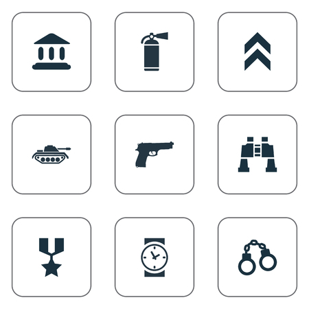 Vector Illustration Set Of Simple Military Icons. Elements Courthouse, Manacles, Watch And Other Synonyms Courthouse, Prison And Clock. Ilustrace
