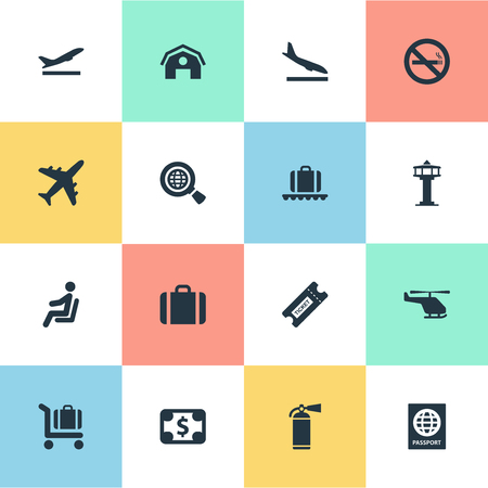 Vector Illustration Set Of Simple Plane Icons. Elements Currency, Protection Tool, Garage And Other Synonyms Conveyor, Aircraft And Helicopter. Illustration