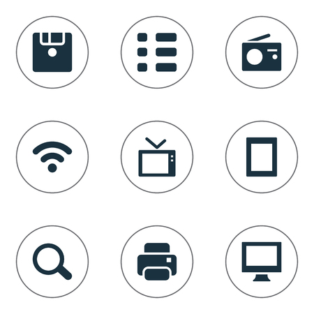 Vector Illustration Set Of Simple Device Icons. Elements Touch Computer, Save, Wireless Connection And Other Synonyms Printer, SEO And Print.