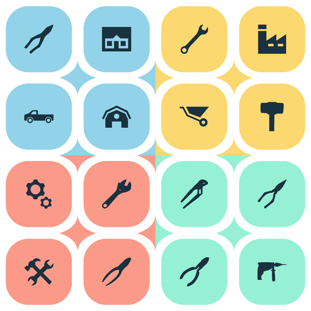 Vector Illustration Set Of Simple Repair Icons. Elements Wrench, Adjustable Wrench, Carpentry Equipment And Other Synonyms Repair, Cart And Instrument. Illustration